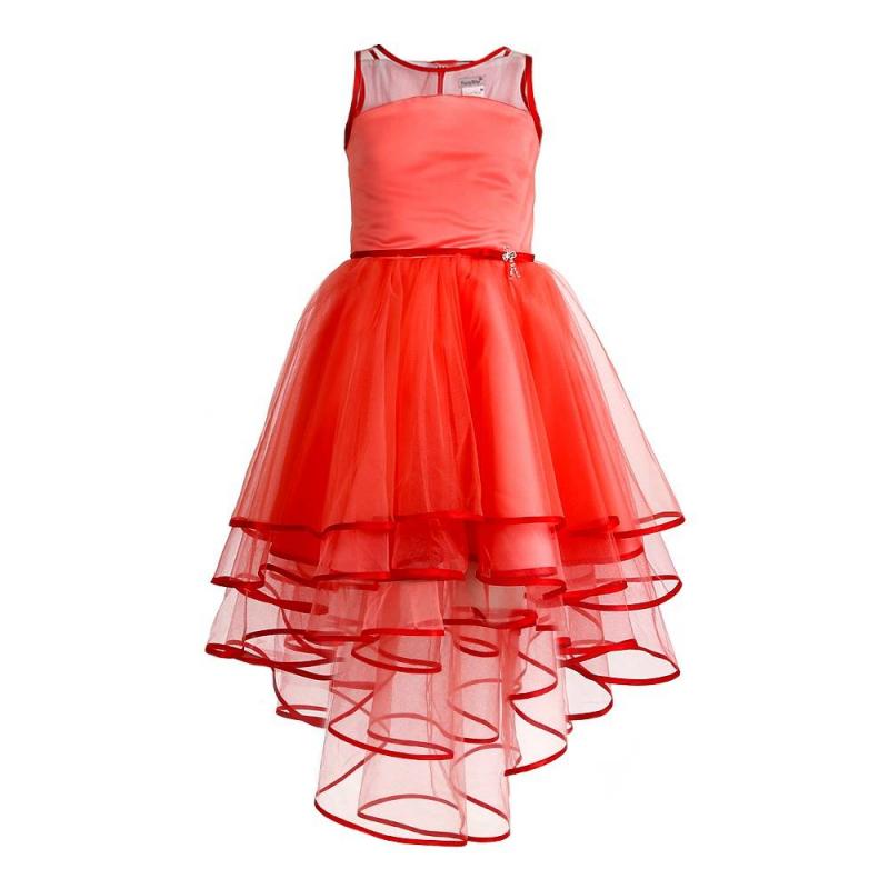 ПлатьеПлатье розовогоцвета марки Fansy Way.<br>Праздничное платье с пышной многослойной юбкой со шлейфом выполнено из тонкого полупрозрачногофатина красного цвета и атласа кораллового цвета, а также дополнено хлопковой подкладкой. Топ платья также украшен фатином и дополнен тонким поясом с милой брошкой. Застегивается платье на молнию и шнуровку на спине. Нарядное платье Fansy Way станет самым изысканным нарядом на праздничном мероприятии.<br><br>Размер: 9 лет<br>Цвет: Розовый<br>Рост: 134<br>Пол: Для девочки<br>Артикул: 677004<br>Страна производитель: Россия<br>Сезон: Всесезонный<br>Состав верха: 100% Полиэстер<br>Состав подкладки: 100% Хлопок<br>Бренд: Россия<br>Вид застежки: Молния