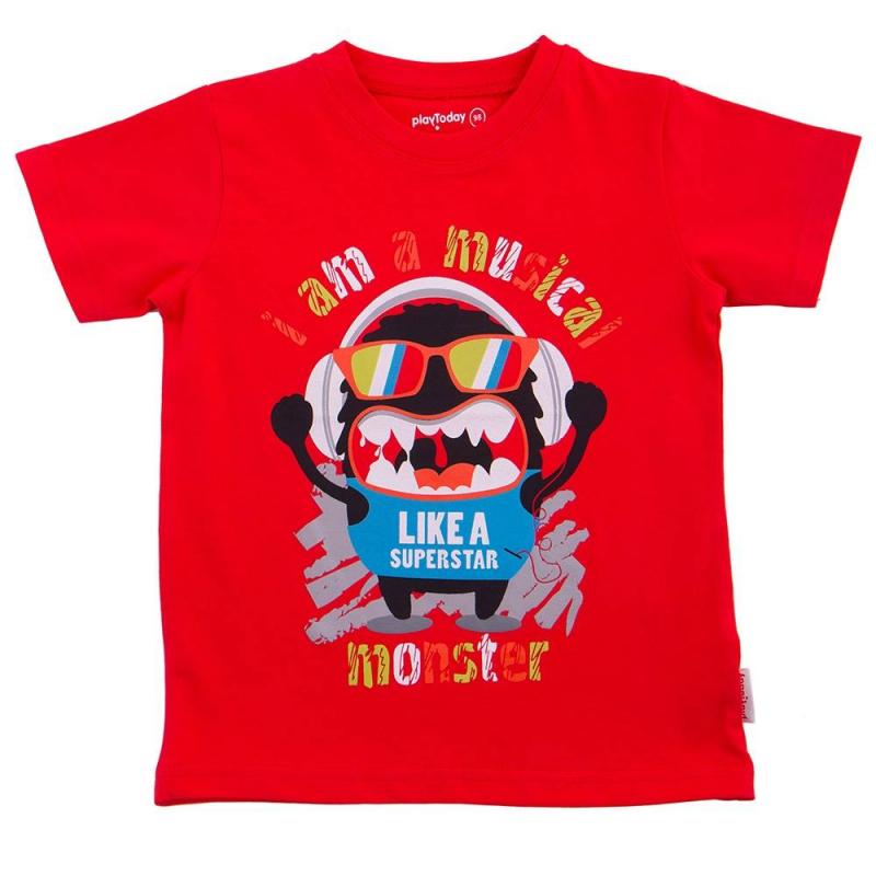 ФутболкаФутболка красного цвета марки Playtoday для мальчиков.<br>Хлопковая футболка с коротким рукавом декорирована надписями и стильным принтом с изображением забавного монстра.<br><br>Размер: 6 лет<br>Цвет: Красный<br>Рост: 116<br>Пол: Для мальчика<br>Артикул: 649598<br>Страна производитель: Бангладеш<br>Сезон: Весна/Лето<br>Состав: 95% Хлопок, 5% Эластан<br>Бренд: Германия