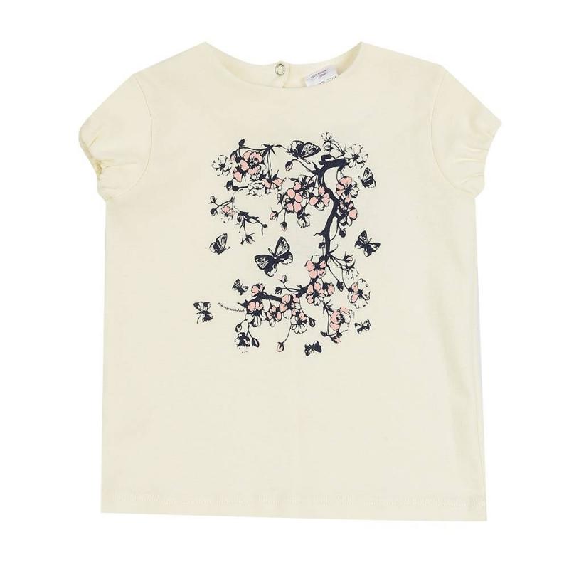 ФутболкаФутболкамолочногоцвета маркиМамуляндиядля девочек.<br>Однотонная футболка, выполненная из чистогохлопка, декорировананежнымизображением сакуры. Модель дополнена эластичной резинкой на рукавах и кнопкой на спинке для удобства переодевания малышки.<br><br>Размер: 18 месяцев<br>Цвет: Бежевый<br>Рост: 86<br>Пол: Для девочки<br>Артикул: 676736<br>Страна производитель: Россия<br>Сезон: Весна/Лето<br>Состав: 100% Хлопок<br>Бренд: Россия<br>Вид застежки: Кнопки