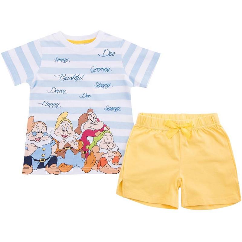 ПижамаПижамаголубогоцвета марки Playtoday для девочек.<br>Хлопковая пижама состоит из футболки и эластичных шортов. Футболка с коротким рукавом украшена принтом в белую полоску и изображением гномов из любимого мультфильма про Белоснежку. Шортики с удобной резинкой на поясе декорированы милым бантиком.<br><br>Размер: 4 года<br>Цвет: Голубой<br>Рост: 104<br>Пол: Для девочки<br>Артикул: 649182<br>Страна производитель: Китай<br>Сезон: Всесезонный<br>Состав: 95% Хлопок, 5% Эластан<br>Бренд: Германия<br>Лицензия: Disney