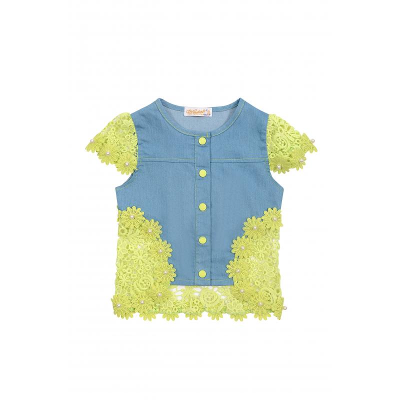 ЖилетЖилетголубогоцвета из коллекцииLacy Blooms марки De Salitto для девочек.<br>Стильный жилет на кнопках выполнен из денима и декорирован нежным контрастным кружевом и бусинками.<br><br>Размер: 2 года<br>Цвет: Голубой<br>Рост: 92<br>Пол: Для девочки<br>Артикул: 680054<br>Бренд: Италия<br>Страна производитель: Китай<br>Сезон: Весна/Лето<br>Состав: 95% Хлопок, 5% Спандекс<br>Вид застежки: Кнопки