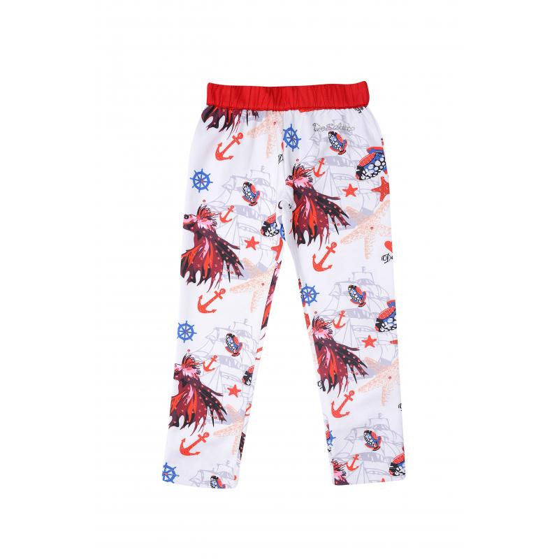 БрюкиБрюки белого цвета из коллекции Coral Depht марки De Salittoдля девочек.<br>Хлопковые брюки с добавлением вискозы украшены стразами и стильным принтом, выполненном в морском стиле. Модель дополнена удобным контрастным поясом на широкой резинке.<br><br>Размер: 4 года<br>Цвет: Белый<br>Рост: 104<br>Пол: Для девочки<br>Артикул: 680304<br>Страна производитель: Китай<br>Сезон: Весна/Лето<br>Состав: 65% Хлопок, 35% Вискоза<br>Бренд: Италия