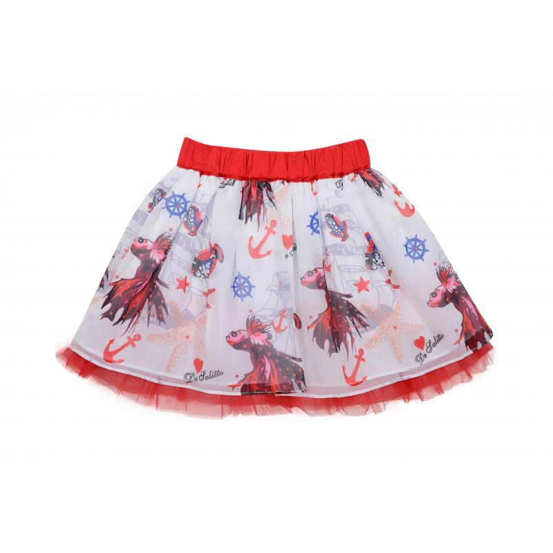 ЮбкаЮбка белогоцвета из коллекцииCoral Depht марки De Salitto для девочек.<br>Стильная шифоновая юбка на хлопковой подкладкедекорирована принтом в морскомстиле. Модель выгодно подчеркнута конрастным поясом и рюшей из фатина красного цвета.<br><br>Размер: 5 лет<br>Цвет: Белый<br>Рост: 110<br>Пол: Для девочки<br>Артикул: 680298<br>Сезон: Весна/Лето<br>Состав: 65% Хлопок, 35% Вискоза<br>Бренд: Италия