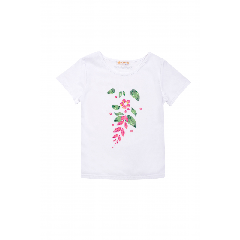 ФутболкаФутболка белогоцвета из коллекцииSpring Garden марки De Salitto для девочек.<br>Футболка с коротким рукавом, выполненная из хлопка с добавлением эластана, декорирована стразами икрасочным изображением цветка.<br><br>Размер: 8+ лет<br>Цвет: Белый<br>Рост: 130<br>Пол: Для девочки<br>Артикул: 680475<br>Страна производитель: Китай<br>Сезон: Весна/Лето<br>Состав: 95% Хлопок, 5% Эластан<br>Бренд: Италия