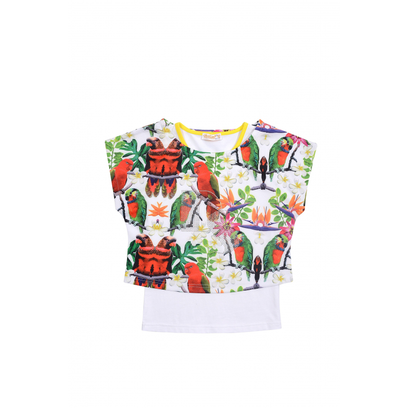 КомплектКомплект футболка+майка белогоцвета из коллекции Rainbow birdsмарки De Salitto для девочек.<br>Стильный хлопковый комплект состоит из футболки с коротким рукавом и майки. Футболка свободного кроя декорирована принтом в тропическом стиле. Майка белого цвета украшена контрастной окантовкой.<br><br>Размер: 8+ лет<br>Цвет: Белый<br>Рост: 130<br>Пол: Для девочки<br>Артикул: 680561<br>Страна производитель: Китай<br>Сезон: Весна/Лето<br>Состав: 65% Хлопок, 30% Вискоза, 5% Спандекс<br>Бренд: Италия
