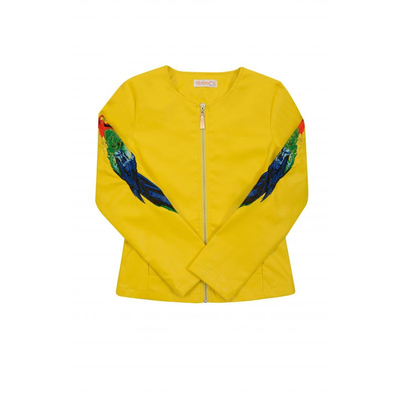 КурткаКурткажелтогоцвета из коллекцииRainbow birds марки De Salitto для девочек.<br>Стильная приталенная куртка выполнена под кожу и декорирована вышитым изображением попугаев, а также украшена на спинке логотипом марки. Модель дополнена небольшими карманами и удобной молнией.<br><br>Размер: 13 лет<br>Цвет: Желтый<br>Рост: 158<br>Пол: Для девочки<br>Артикул: 680624<br>Страна производитель: Китай<br>Сезон: Весна/Лето<br>Состав: 50% Полиуретан, 50% Полиэстер<br>Бренд: Италия<br>Вид застежки: Молния