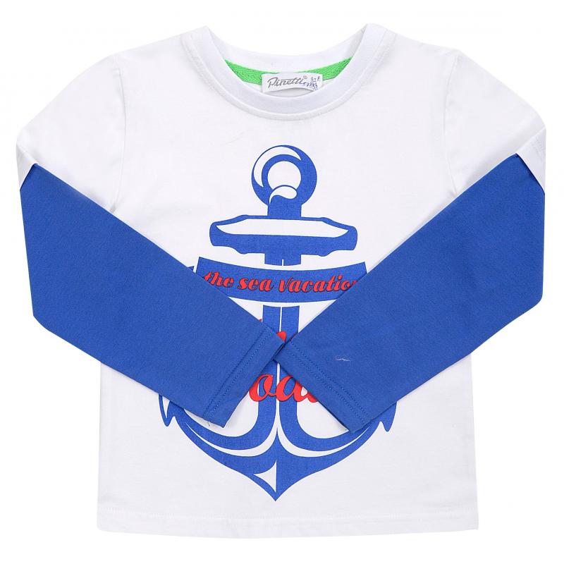 Футболка с длинным рукавомФутболка с длинным рукавомсинегоцвета из коллекции The sea vacationмарки De Salitto для мальчиков.<br>Стильная футболка с длинным рукавом выполнена из хлопка с добавлением эластана. Модель декорирована яркимпринтом с изображением якоряи надписью, а также контрастными рукавами.<br><br>Размер: 7 лет<br>Цвет: Синий<br>Рост: 122<br>Пол: Для мальчика<br>Артикул: 680945<br>Страна производитель: Китай<br>Сезон: Весна/Лето<br>Состав: 95% Хлопок, 5% Эластан<br>Бренд: Италия
