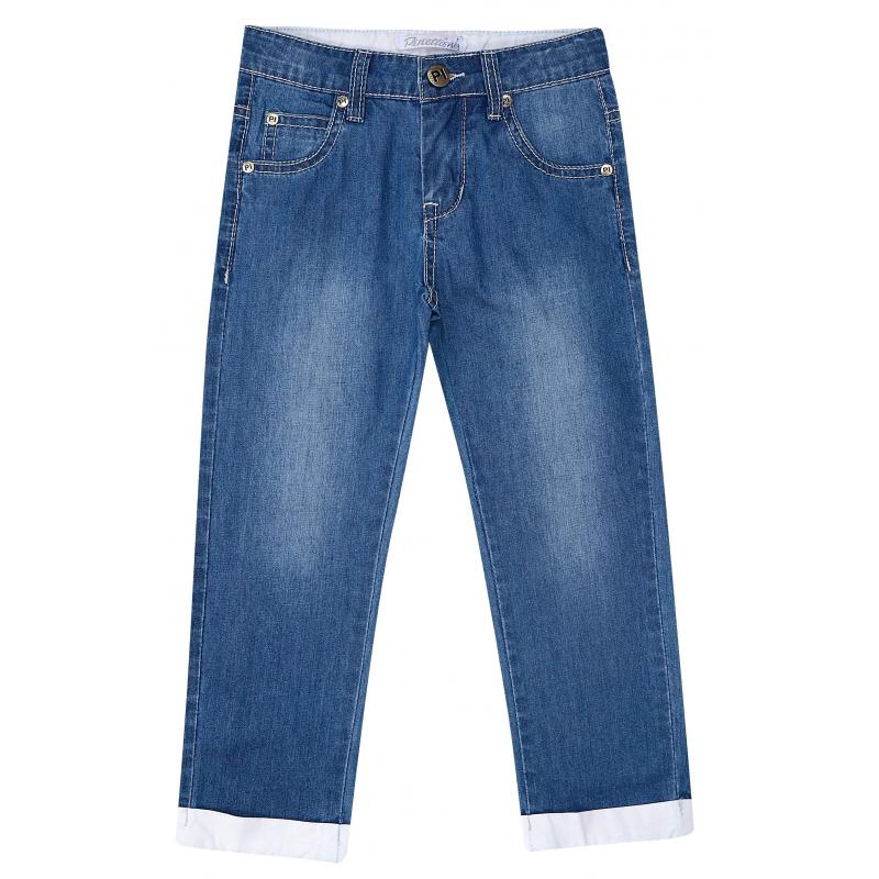 ДжинсыДжинсы синегоцвета из коллекцииThe sea vacation марки De Salitto для мальчиков.<br>Стильные джинсыс отворотами выполнены в насыщенном цвете из хлопка с добавлением эластанаи дополнены карманами, а также шлевками для ремня. Удобная модель выгодно подчеркнута контрастной строчкой белого цвета и декоративными потертостями.<br><br>Размер: 4 года<br>Цвет: Синий<br>Рост: 104<br>Пол: Для мальчика<br>Артикул: 680949<br>Сезон: Весна/Лето<br>Состав: 85% Хлопок, 15% Эластан<br>Бренд: Италия