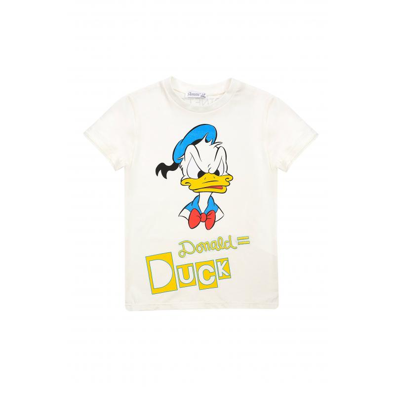ФутболкаФутболка белогоцвета из коллекцииDanger D марки De Salitto для мальчиков.<br>Стильная футболка с коротким рукавом выполнена из хлопка с добавлением эластана и декорирована изображением Дональда Дака.<br><br>Размер: 6 лет<br>Цвет: Белый<br>Рост: 116<br>Пол: Для мальчика<br>Артикул: 680986<br>Бренд: Италия<br>Сезон: Весна/Лето<br>Состав: 95% Хлопок, 5% Эластан<br>Лицензия: Disney