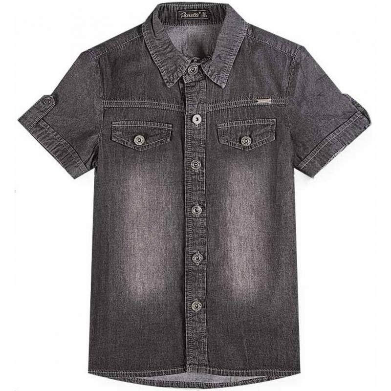 РубашкаРубашка черного цвета из коллекции The Biker марки De Salitto для мальчиков.<br>Джинсовая рубашка с коротким рукавом выполнена из хлопка с добавлением эластанаидекорирована эффектом потертости. Модель с отложным воротником дополнена карманами и горизонтальной кокеткой. Рубашка застегивается на удобные пуговицы.<br><br>Размер: 8+ лет<br>Цвет: Черный<br>Рост: 130<br>Пол: Для мальчика<br>Артикул: 680742<br>Страна производитель: Китай<br>Сезон: Весна/Лето<br>Состав: 85% Хлопок, 15% Эластан<br>Бренд: Италия