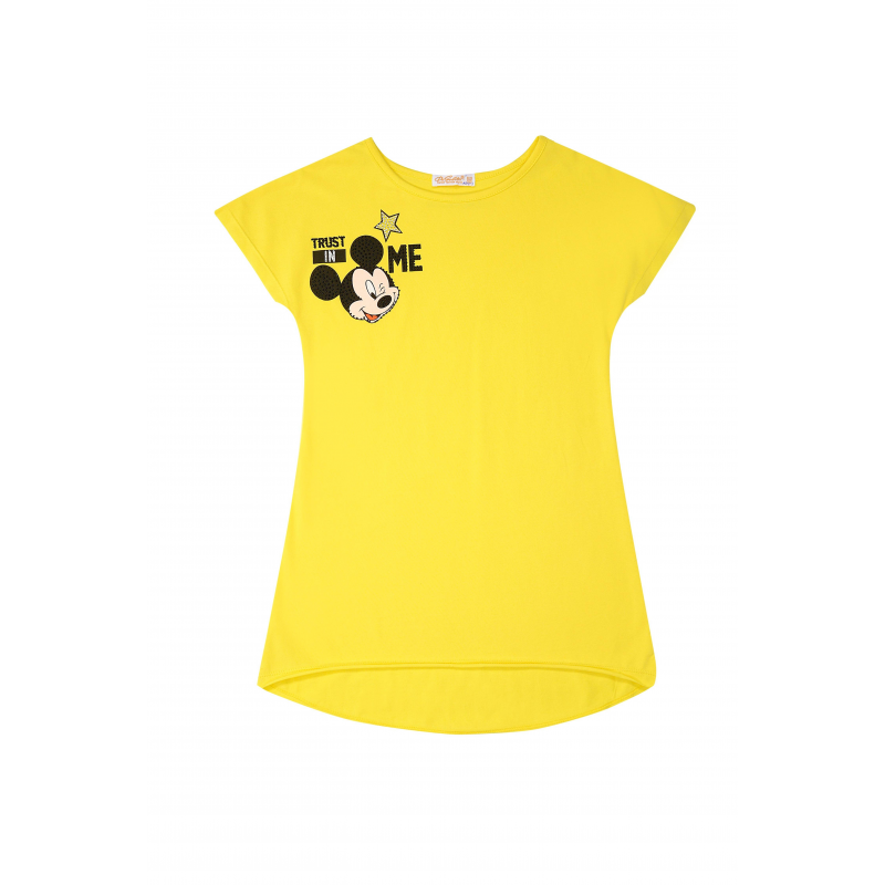 ТуникаТуника желтогоцвета из коллекцииLove Minnis марки De Salitto.<br>Яркая туника с коротким рукавом, выполненная из хлопка с добавлением эластана, декорирована изображением Микки Мауса.<br><br>Размер: 10 лет<br>Цвет: Желтый<br>Рост: 140<br>Пол: Для девочки<br>Артикул: 680422<br>Бренд: Италия<br>Страна производитель: Китай<br>Сезон: Весна/Лето<br>Состав: 95% Хлопок, 5% Эластан<br>Лицензия: Disney