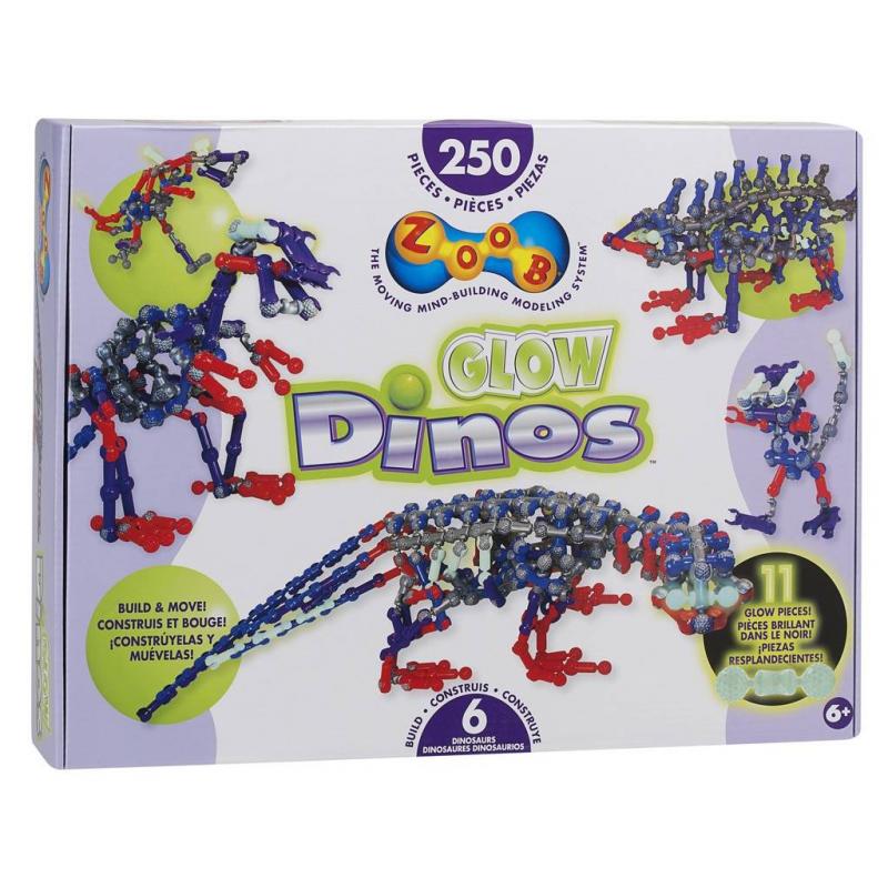 ZOOB Конструктор Glow Dinos конструктор zoob glow dinos 250 элементов 14004
