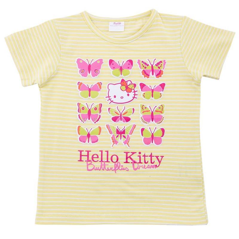 ФутболкаФутболка желтого цвета марки Playtoday для девочек.<br>Футболка с коротким рукавом выполнена из хлопка с добавлением эластана. Модель декорирована принтом в полоску, изображениями бабочек, а также кошечки Хэлло Китти.<br><br>Размер: 8 лет<br>Цвет: Желтый<br>Рост: 128<br>Пол: Для девочки<br>Артикул: 649562<br>Бренд: Германия<br>Страна производитель: Бангладеш<br>Сезон: Весна/Лето<br>Состав: 95% Хлопок, 5% Эластан<br>Лицензия: Hello Kitty