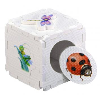Игрушки, Развивающий кубик-пазл Насекомые Робинс 701058, фото