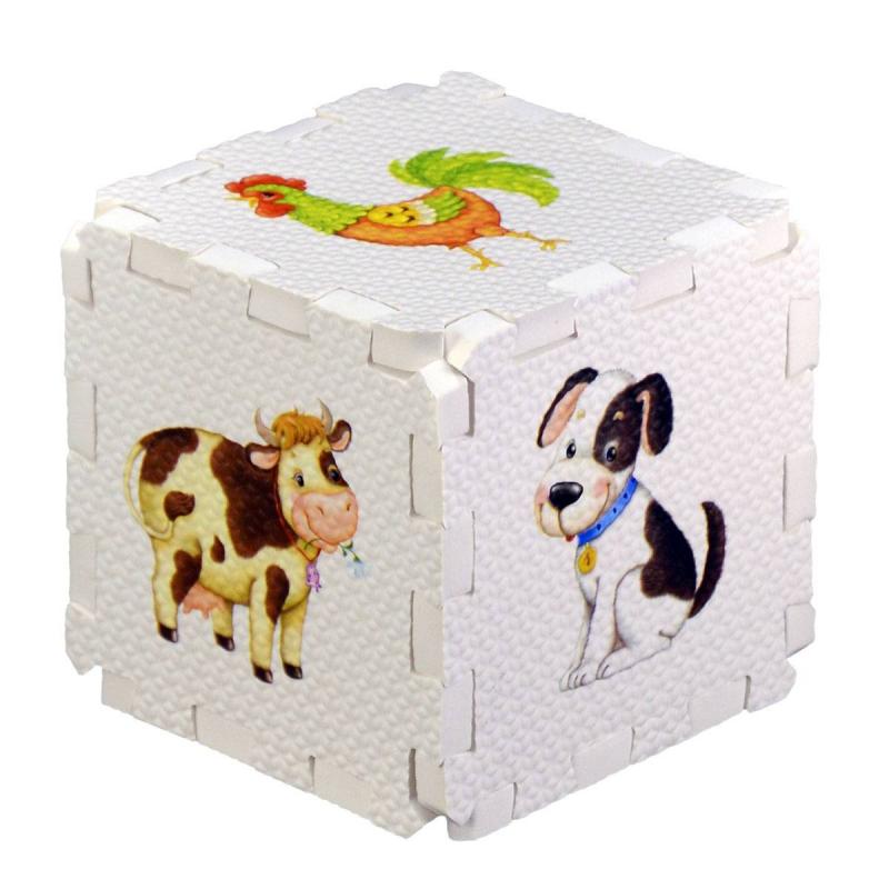 Развивающий кубик-пазл Домашние животные