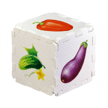 Игрушки, Развивающий кубик-пазл Овощи Робинс 701064, фото