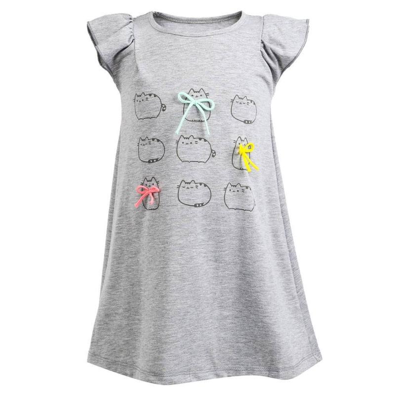 ПлатьеПлатьесерогоцвета марки Flobaby.<br>Платье с коротким рукавом, выполненное из хлопка, декорировано забавным прином с изображением котят, а также украшено яркими бантиками. Модель выгодно дополнена рукавами-крылышками.<br><br>Размер: 5 лет<br>Цвет: Серый<br>Рост: 110<br>Пол: Для девочки<br>Артикул: 700199<br>Страна производитель: Россия<br>Сезон: Весна/Лето<br>Состав: 95% Хлопок, 5% Лайкра<br>Бренд: Россия