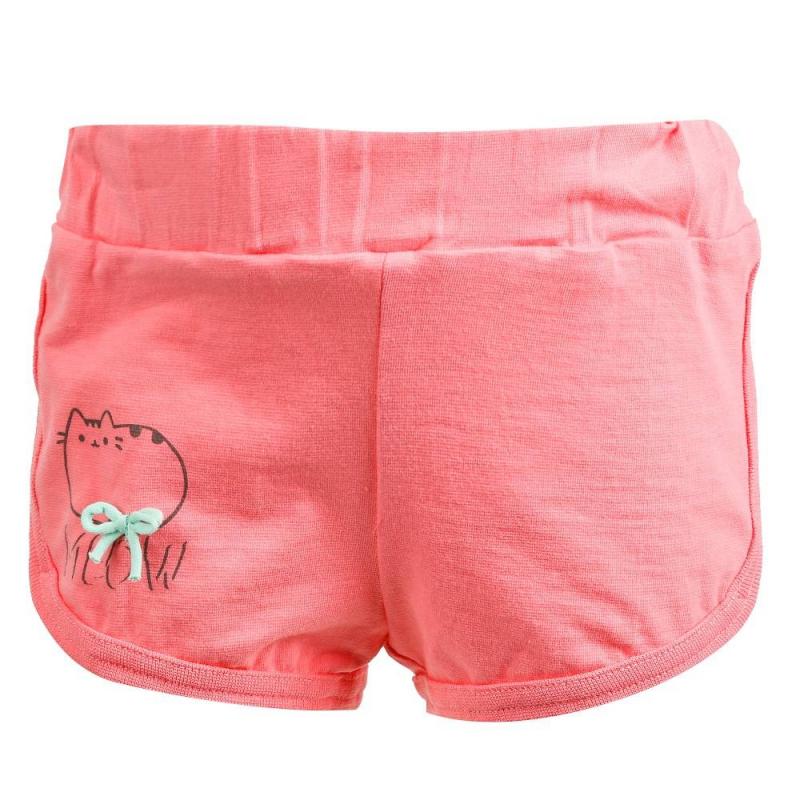 ШортыШортырозовогоцвета марки Flobaby для девочек.<br>Однотонные шорты, выполненные из хлопка, декорированы бантиком и небольшим забавным изображением котенка. Модель дополнена широкой эластичной резинкой на поясе.<br><br>Размер: 5 лет<br>Цвет: Розовый<br>Рост: 110<br>Пол: Для девочки<br>Артикул: 700238<br>Страна производитель: Россия<br>Сезон: Весна/Лето<br>Состав: 95% Хлопок, 5% Лайкра<br>Бренд: Россия