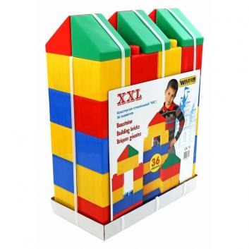 Игрушки, Конструктор строительный XXL 36 элементов Wader 650707, фото