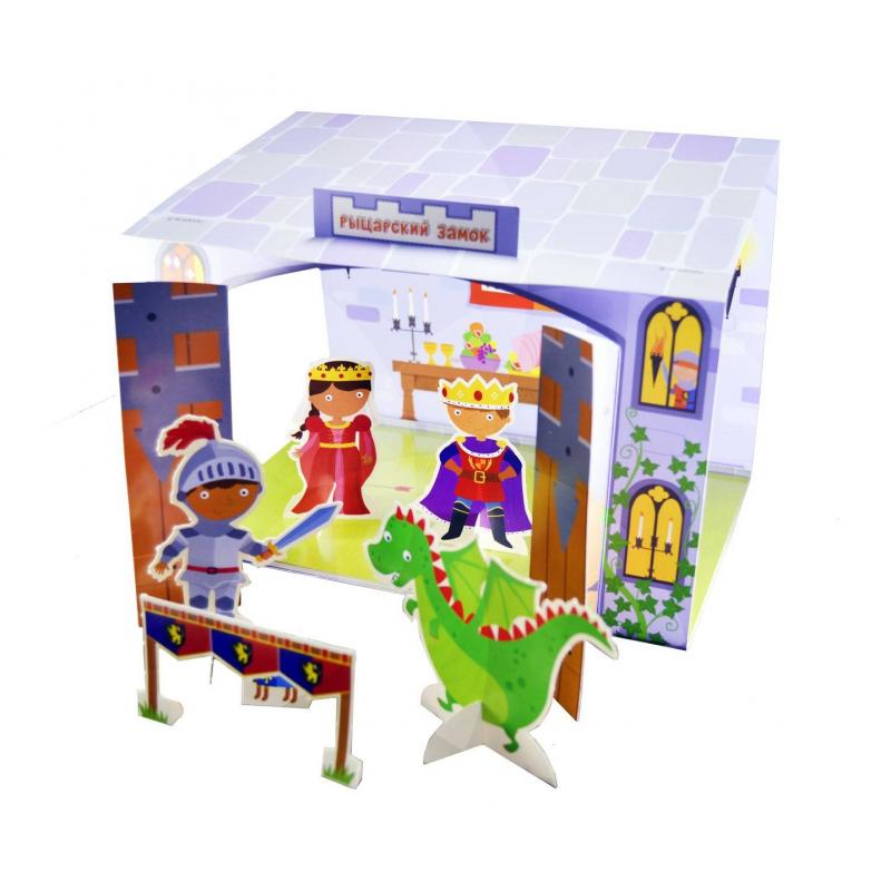 Книга-3D-театр Рыцарский замокКнига-3D-театр Рыцарский замок марки Робинс для мальчиков.<br>Интересная книга легко превращается в 3D-рыцарский замок. На страницах издания ребенок найдет средневековых рыцарей и забавных персонажей, сможешь соорудить штурмовую башню для осады замка, сам рыцарский замок и даже ров с водой для защиты замка. Чтобы отделить фигурки от страниц книги необходимо аккуратно выдавить соответствующие детали. Для увлекательной игры можно использовать не только авторские карточки с готовым сюжетом, но и свое воображение.<br>Рекомендовано для детей от 3 лет.<br><br>Возраст от: 3 года<br>Пол: Для мальчика<br>Артикул: 701003<br>Страна производитель: Китай<br>Бренд: Россия<br>Размер: от 3 лет
