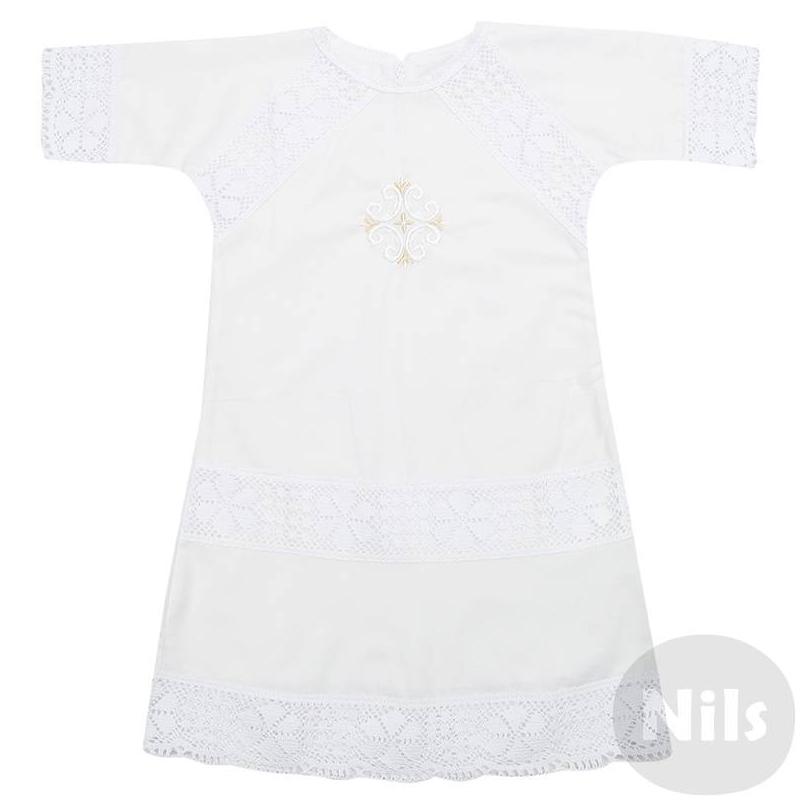 РубашкаРубашка-платье для крещения с вышивкой для девочек. Рубашка из тонкого хлопка украшенная ажурными кружевными вставками и вышивкой с крестом на груди. Рубашка надевается через голову и имеет завязки сзади.<br><br>Размер: 12 месяцев<br>Цвет: Белый<br>Рост: 80<br>Пол: Для девочки<br>Артикул: 605268<br>Страна производитель: Россия<br>Сезон: Всесезонный<br>Состав: 100% Хлопок<br>Бренд: Россия