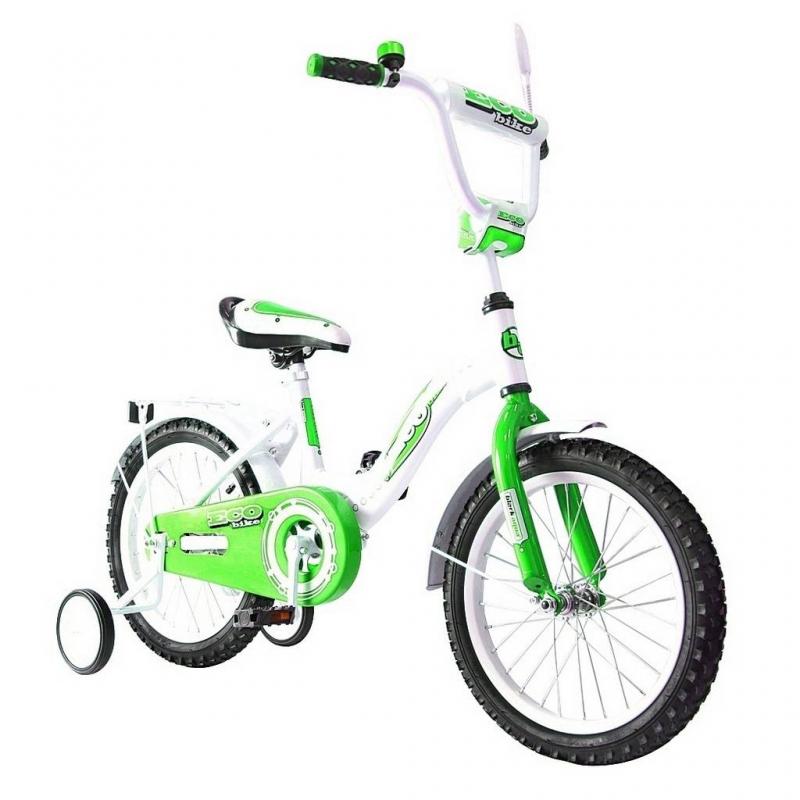 Велосипед двухколесный Aluminium BA Ecobike 14Велосипед двухколесный Aluminium BA Ecobike 14 зеленого цвета марки RT.<br>Яркий велосипед на алюминиевой раме белого цвета оборудован удобным сиденьем с ручкой для переноски. Высокий руль с мягкой накладкой по центру. Для модели использованы резиновые колеса и поддерживающие колесики. Для удобства ребенка предусмотрены багажник и зеркальце заднего вида. Велосипед дополнен звонком на руле, а также продуманы брызговики колес и закрытая цепь.<br><br>Цвет: Зеленый<br>Возраст от: 4 года<br>Пол: Для мальчика<br>Артикул: 650754<br>Бренд: Россия<br>Размер: от 4 лет