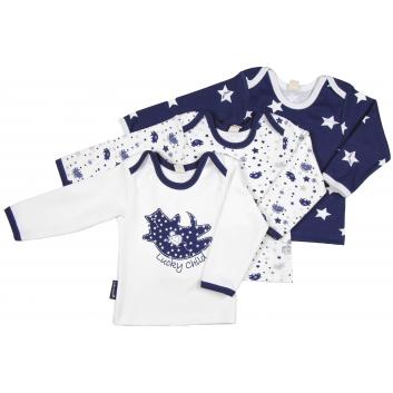Малыши, Комплект футболок с длинным рукавом 3 шт Lucky Child (темносиний)685015, фото