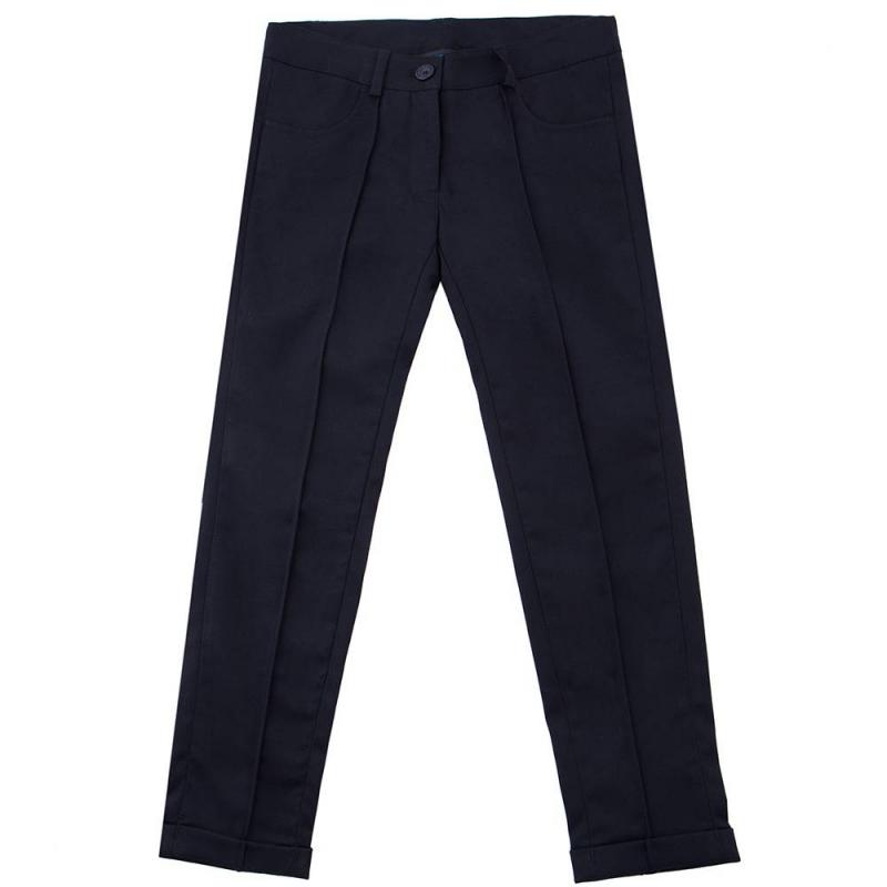 БрюкиБрюки чёрногоцвета маркиButton Blue для девочек.<br>Брюки классического дизайна, выполненные из мягкой ткани с добавлением эластана, декорированы стрелками, а также вышивкой с названием бренда на поясе. Модельдополненапередними карманами,шлёвками для ремня и регулируемойкулиской на талии.<br><br>Размер: 10 лет<br>Цвет: Черный<br>Рост: 140<br>Пол: Для девочки<br>Артикул: 636880<br>Бренд: Россия<br>Страна производитель: Китай<br>Сезон: Всесезонный<br>Состав: 68% Полиэстер, 30% Район, 2% Эластан<br>Состав подкладки: 100% Полиэстер