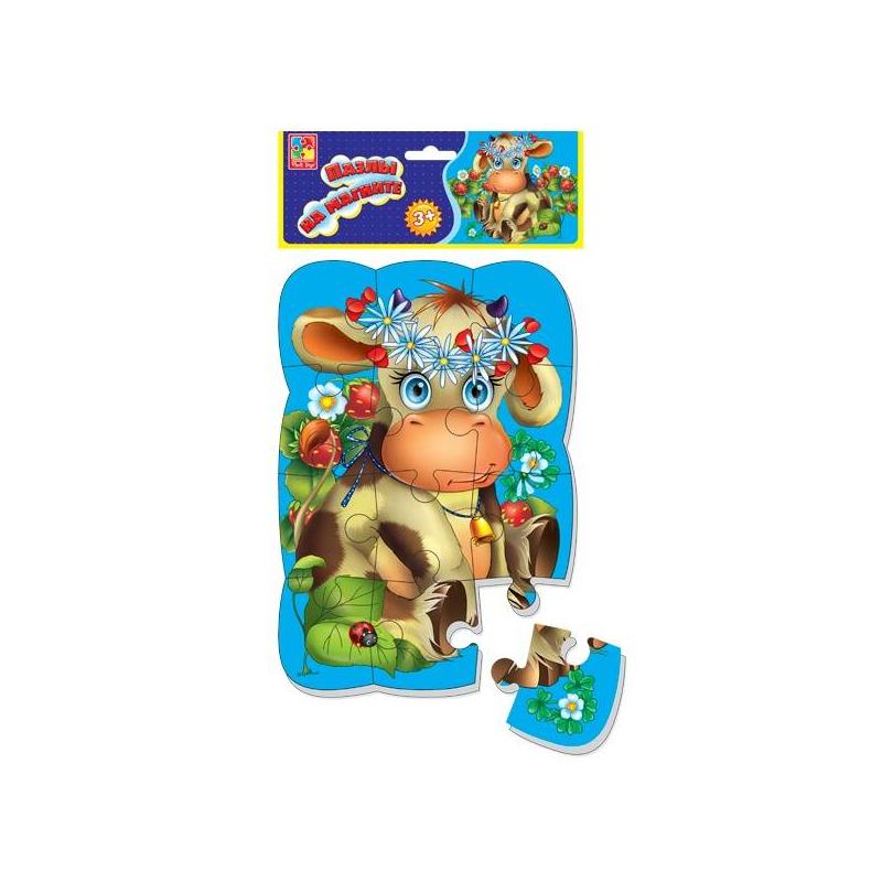 Vladi Toys Пазл на магните Коровка 12 деталей vladi toys vladi toys пазл ферма