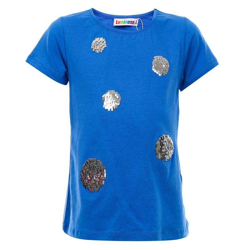 ФутболкаФутболка синегоцвета из коллекции Spring Rose маркиLuminosoдля девочек.<br>Однотонная футболка с коротким рукавом, выполненная из хлопка с добавлением эластана, декорирована блестящими пайетками.<br><br>Размер: 13 лет<br>Цвет: Синий<br>Рост: 158<br>Пол: Для девочки<br>Артикул: 688150<br>Бренд: Италия<br>Страна производитель: Китай<br>Сезон: Весна/Лето<br>Состав: 95% Хлопок, 5% Эластан