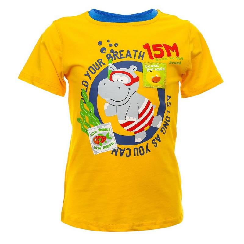 ФутболкаФутболка желтогоцвета из коллекции Ocean Guard марки Sweet Berry для мальчиков.<br>Футболка с коротким рукавом, выполненная из хлопка с добавлением эластана, декорированапринтом с надписями и забавным изображением бегемотика.<br><br>Размер: 12 месяцев<br>Цвет: Желтый<br>Рост: 80<br>Пол: Для девочки<br>Артикул: 686871<br>Бренд: Италия<br>Страна производитель: Китай<br>Сезон: Весна/Лето<br>Состав: 95% Хлопок, 5% Эластан
