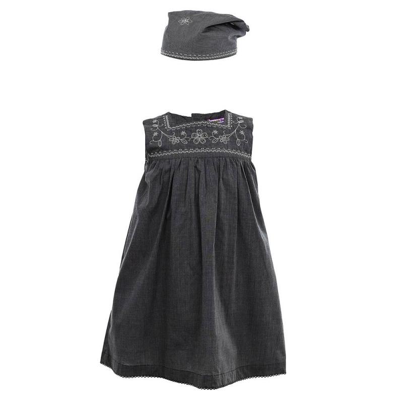 КомплектКомплект платье+косынка темно-серогоцвета из коллекции Maritime History марки Sweet Berry для девочек.<br>Комплект, выполненный из натурального хлопка, состоит из платья и косынки. Платье без рукавов украшено стильной вышивкой и отделкой краше, а также выгодно подчеркнуто легкими складками. Модель застегивается на удобные пуговицы на спинке. Косынка также украшена вышивкой и дополнена эластичной резинкой.<br><br>Размер: 3 года<br>Цвет: Темносерый<br>Рост: 98<br>Пол: Для девочки<br>Артикул: 688224<br>Бренд: Италия<br>Страна производитель: Китай<br>Сезон: Весна/Лето<br>Состав: 100% Хлопок