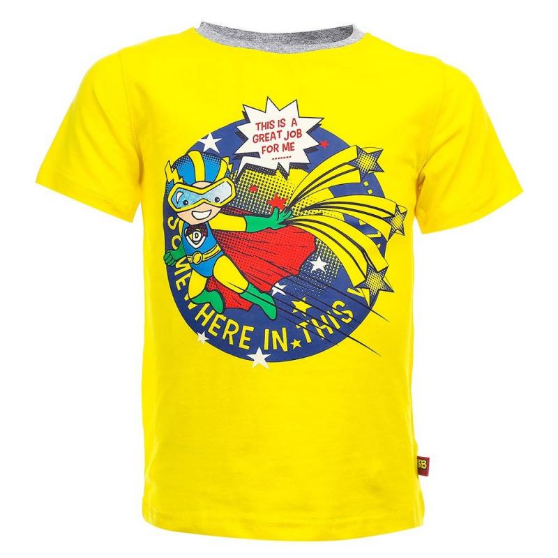 ФутболкаФутболка желтогоцвета из коллекции Super Hero марки Sweet Berry для мальчиков.<br>Яркая футболка с коротким рукавом, выполненная из хлопка с добавлением эластана, декорирована принтомс забавным изображением супергероя.<br><br>Размер: 18 месяцев<br>Цвет: Желтый<br>Рост: 86<br>Пол: Для мальчика<br>Артикул: 686922<br>Бренд: Италия<br>Страна производитель: Китай<br>Сезон: Весна/Лето<br>Состав: 95% Хлопок, 5% Эластан