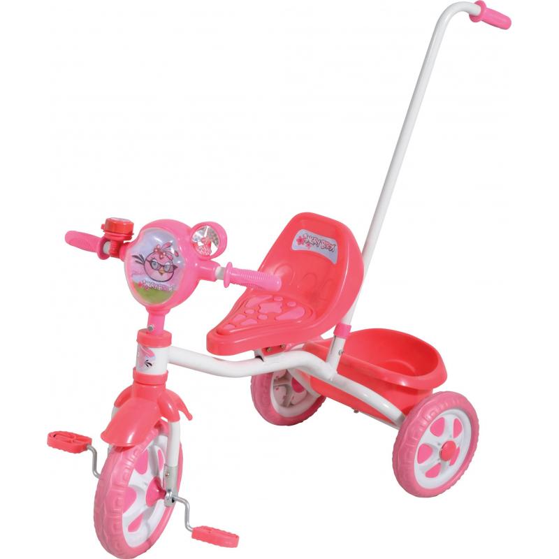 Велосипед трёхколёсный Angry BirdsВелосипед трёхколёсный Angry Birdsрозовогоцвета марки 1Toy для девочек.<br>Детский трёхколёсный велосипед украшен милым рельефным изображением птички Стеллы - персонажа популярной игры Angry Birds. Модель оснащена ручкой управления для родителей.<br>Комплектация:<br>- пластиковые колёса размером 10и 8;- массажное сиденье;- багажная корзина;- звонок;- декоративный вентилятор.<br>Велосипед предназначен для детей от 1,5лет.<br><br>Цвет: Розовый<br>Возраст от: 18 месяцев<br>Пол: Для девочки<br>Артикул: 682294<br>Бренд: Китай<br>Лицензия: Angry birds<br>Размер: от 18 месяцев