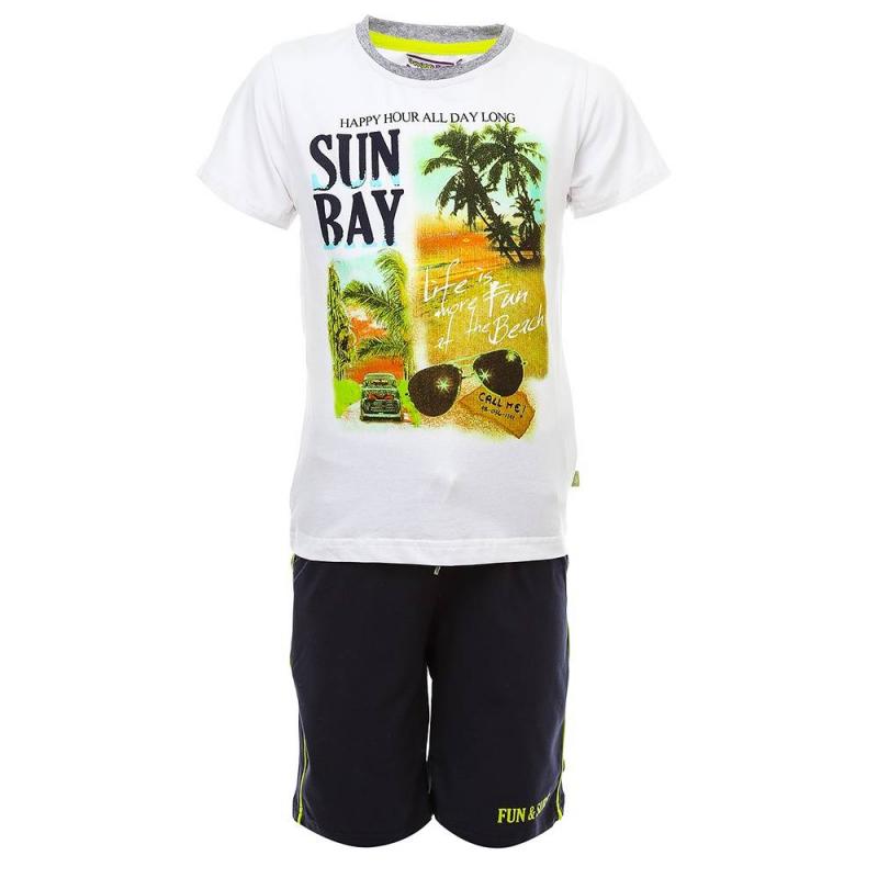 КомплектКомплект футболка + шорты темно-синего цвета из коллекции Fun &amp; Surf марки Sweet Berry для мальчиков.<br>Комплект, выполненный из хлопка с добавлением эластана, состоит из футболки и шортов. Футболка белого цвета с коротким рукавом украшена оригинальным летним принтом. Шорты декорированы надписью и контрастными вставками, а также дополнены передними карманами. Пояс на широкой резинке выгодно подчеркнут удобным шнурком.<br><br>Размер: 5 лет<br>Цвет: Темносиний<br>Рост: 110<br>Пол: Для мальчика<br>Артикул: 687777<br>Бренд: Италия<br>Страна производитель: Китай<br>Сезон: Весна/Лето<br>Состав: 95% Хлопок, 5% Эластан
