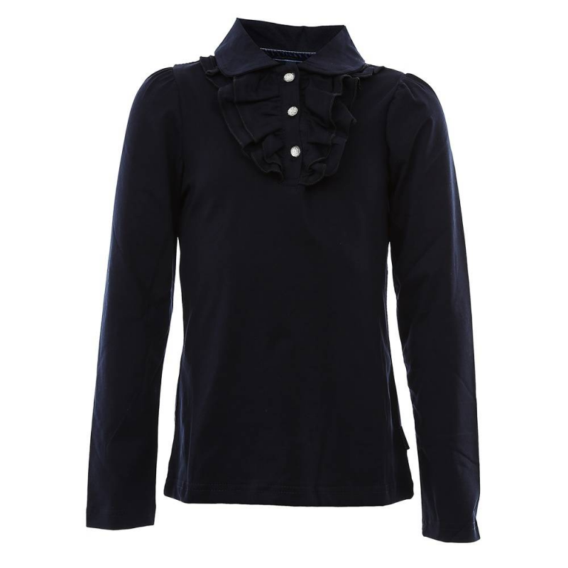 БлузкаБлузкатемно-синегоцвета из коллекции School collection марки Luminoso для девочек.<br>Однотонная блуза с длинным рукавом, выполненная из хлопка с добавлением эластана, декорирована отложным воротничком и нежными рюшами, а также модель дополнена красивыми пуговицами.<br><br>Размер: 10 лет<br>Цвет: Темносиний<br>Рост: 140<br>Пол: Для девочки<br>Артикул: 686315<br>Страна производитель: Китай<br>Сезон: Всесезонный<br>Состав: 95% Хлопок, 5% Эластан<br>Бренд: Италия<br>Вид застежки: Пуговицы