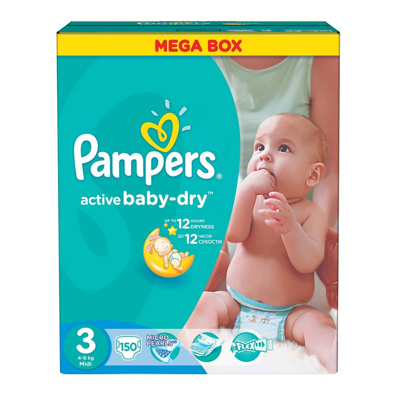 Pampers Подгузники Active Baby Midi 4-9 кг 150 шт greenty подгузники greenty 5 13 кг 32 шт
