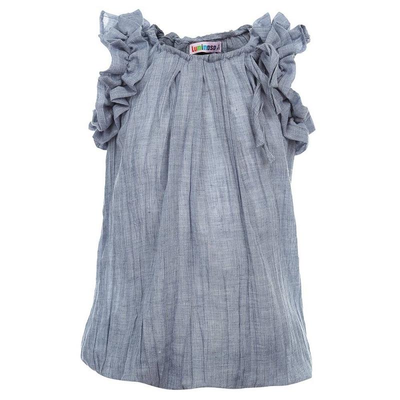 БлузкаБлузкасинегоцвета из коллекции Island Life марки Luminoso для девочек.<br>Легкая блузка с коротким рукавом, выполненная из чистого хлопка, декорирована нежными рюшами и дополнена по низу эластичной резинкой.<br><br>Размер: 11 лет<br>Цвет: Синий<br>Рост: 146<br>Пол: Для девочки<br>Артикул: 686775<br>Страна производитель: Китай<br>Сезон: Весна/Лето<br>Состав: 100% Хлопок<br>Бренд: Италия