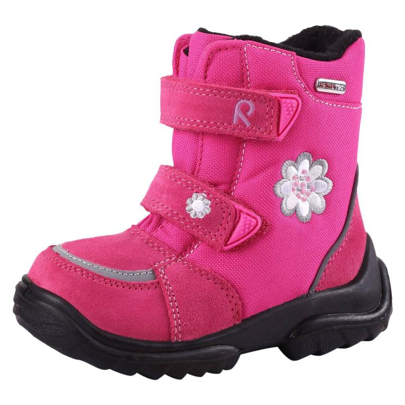 БотинкиРозовые ботинки марки REIMA для девочек. Теплые водонепроницаемые ботинки с верхом из натуральной замши и текстиля дополнены мягкой ворсистой текстильной подкладкой. Легкая полиуретановая подошва и стельки из фетра хорошо изолируют и сохраняют ноги в тепле. Застежки-липучки обеспечивают хорошее прилегание к ноге. Съемные стельки со специальным рисунком помогают подобрать правильный размер. Есть светоотражающие детали для безопасности ребенка.<br><br>Размер: 25<br>Цвет: Малиновый<br>Пол: Для девочки<br>Артикул: 603903<br>Страна производитель: Вьетнам<br>Сезон: Осень/Зима<br>Материал верха: Текстиль / Нат. кожа<br>Материал подкладки: Текстиль<br>Материал стельки: Текстиль<br>Материал подошвы: Полиуретан<br>Бренд: Финляндия