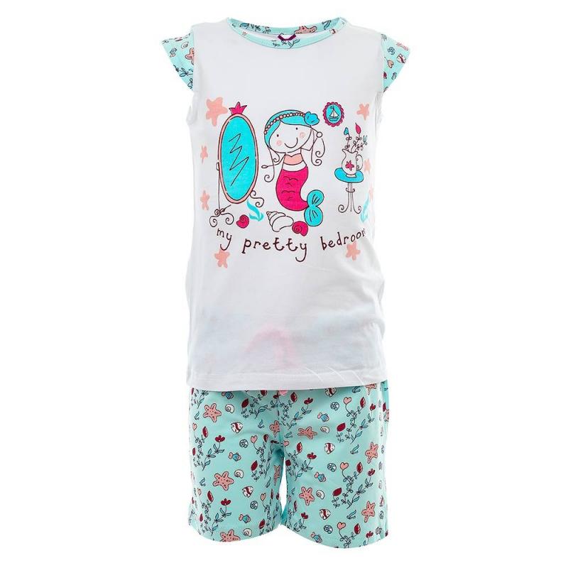 КомплектКомплект футболка+шорты бирюзового цвета из коллекции Home марки Sweet Berry для девочек.<br>Комплект для сна и дома выполнен из хлопка с добавлением эластана. Шорты дополненыэластичной резинкой на поясе и розовым шнурком. Комплект декорирован изображением милой русалочки, а также маленькими забавными принтами в морском стиле на штанишках.<br><br>Размер: 6 лет<br>Цвет: Бирюзовый<br>Рост: 116<br>Пол: Для девочки<br>Артикул: 686486<br>Страна производитель: Китай<br>Сезон: Всесезонный<br>Состав: 95% Хлопок, 5% Эластан<br>Бренд: Италия