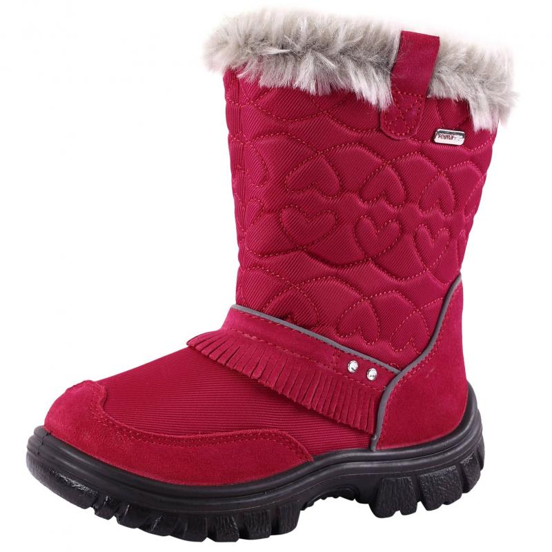СапогиСапоги малинового цвета марки REIMA для девочек.Сапоги без застежек сдекоративными стразами и бахромой. Мягкие и удобные водонепроницаемые сапоги с верхом из натуральной замши и текстиля. Подкладка из искусственного меха и полиуретановая подошва сохранят ноги в тепле. Съемные фетровые стельки со специальным рисунком помогают подобрать правильный размер. Есть светоотражающие элементы для безопасности ребенка.<br><br>Размер: 31<br>Цвет: Малиновый<br>Пол: Для девочки<br>Артикул: 603886<br>Страна производитель: Вьетнам<br>Сезон: Осень/Зима<br>Материал верха: Текстиль / Нат. кожа<br>Материал подкладки: Текстиль<br>Материал стельки: Текстиль<br>Материал подошвы: Полиуретан<br>Бренд: Финляндия<br>Температура: от 0° до -20°