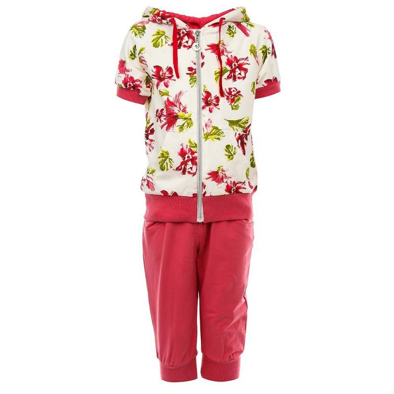 КомплектКомплект толстовка+бриджи розового цвета из коллекции Spring rose марки Luminoso для девочек.<br>Комплект выполнен из хлопка с добавлением эластана. Он состоит из толстовки с коротким рукавом, украшенной цветочным принтом, и однотонных бриджей с удобной резинкой. И толстовка, и бриджи дополнены манжетами.<br><br>Размер: 11 лет<br>Цвет: Розовый<br>Рост: 146<br>Пол: Для девочки<br>Артикул: 688309<br>Страна производитель: Китай<br>Сезон: Весна/Лето<br>Состав: 95% Хлопок, 5% Эластан<br>Бренд: Италия<br>Вид застежки: Молния