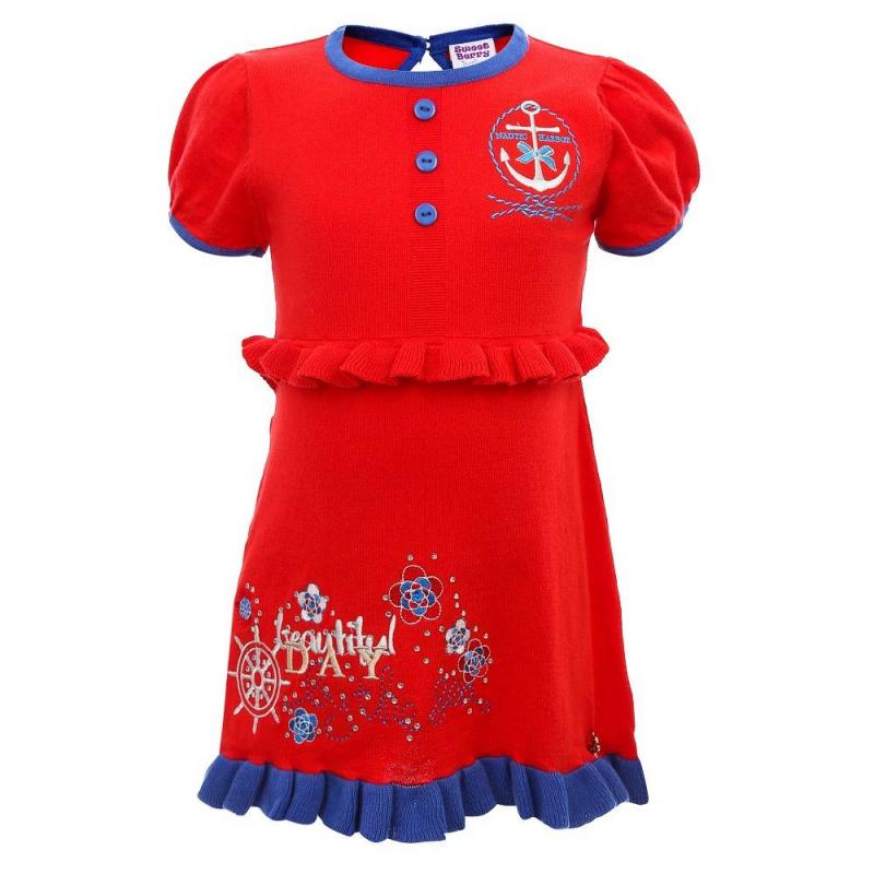 ПлатьеПлатье красного цвета из коллекции New Spring марки Sweet Berry.<br>Яркое платье выполнено из натурального хлопка и украшено стразами, а также вышивками в морском стиле. Модель декорирована оборкой на поясе и выгодно подчеркнута нижней оборкой синего цвета. Платье спереди дополнено декоративными пуговицами и застегивается на функциональную пуговицу на спинке.<br><br>Размер: 18 месяцев<br>Цвет: Красный<br>Рост: 86<br>Пол: Для девочки<br>Артикул: 688195<br>Страна производитель: Китай<br>Сезон: Весна/Лето<br>Состав: 100% Хлопок<br>Бренд: Италия<br>Вид застежки: Пуговицы