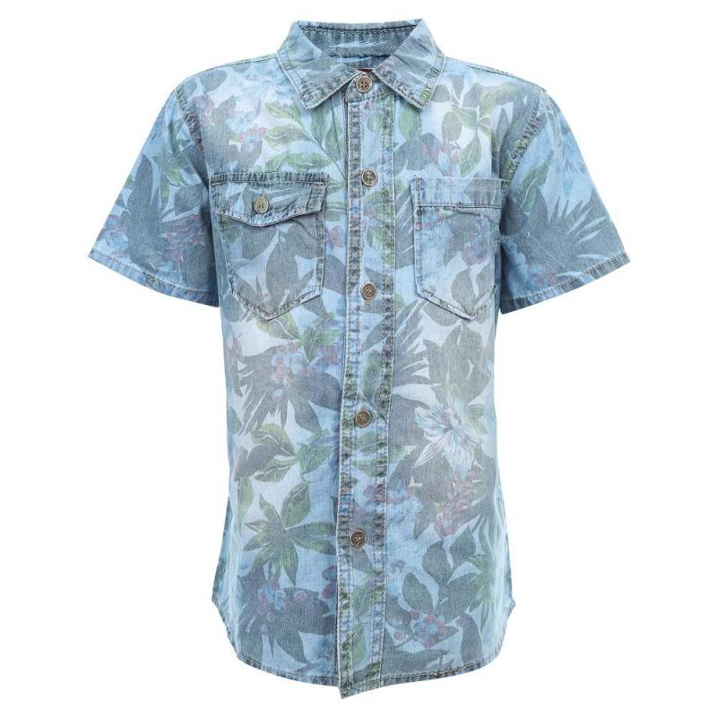 РубашкаРубашкаголубогоцвета из коллекции Surf Side марки Luminoso для мальчиков.<br>Стильная джинсовая рубашка с коротким рукавом, выполненная из чистого хлопка, декорированапринтомв гавайском стиле и дополнена пуговицами.<br><br>Размер: 12 лет<br>Цвет: Голубой<br>Рост: 152<br>Пол: Для мальчика<br>Артикул: 687420<br>Страна производитель: Китай<br>Сезон: Весна/Лето<br>Состав: 100% Хлопок<br>Бренд: Италия