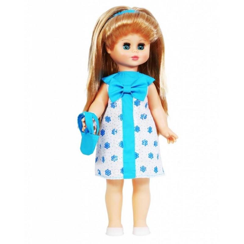 Кукла Оля 5 озвученнаяКуклаОля 5 (озвученная) серии Моя любимая кукла марки Весна.<br>Красивая и очаровательная кукла со звуковым модулем и закрывающимися глазами понравится любой девочке. Модельодета в летнее платье. Комплект дополнен милыми туфлями и сумочкой. Элементы одежды легко снимаются и одеваются. Стоит нажать на куклу, как она сразу произносит разнообразные фразы. С такой игрушкойсюжетно-ролевые игры станут еще более интересными.<br>Механизм движения: нет.<br>Материал: винил, пластмасса.<br>Высота: 43 см.<br>Вес: 0,98 кг.<br>Рекомендовано для детей от 3 лет.<br><br>Возраст от: 3 года<br>Пол: Для девочки<br>Артикул: 658763<br>Страна производитель: Россия<br>Бренд: Россия<br>Размер: от 3 лет