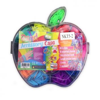 Набор цветных резинок для плетения фенечек Яблочко 700 шт