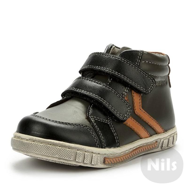 БотинкиСерые демисезонные ботинки из натуральной и искусственной кожи марки ZEBRA (ЗЕБРА). Верх серый с черной и оранжевой отделкой, выполнен из натуральной и искусственной кожи. Мягкая текстильная подкладка из ворсина, стелька из натуральной кожи. Вид застежки - липучки.<br><br>Размер: 22<br>Цвет: Темносерый<br>Пол: Для девочки<br>Артикул: 006116<br>Страна производитель: Китай<br>Сезон: Всесезонный<br>Материал верха: Нат. кожа / Иск. кожа<br>Материал подкладки: Текстиль<br>Материал стельки: Натуральная кожа<br>Материал подошвы: Резина<br>Бренд: Россия