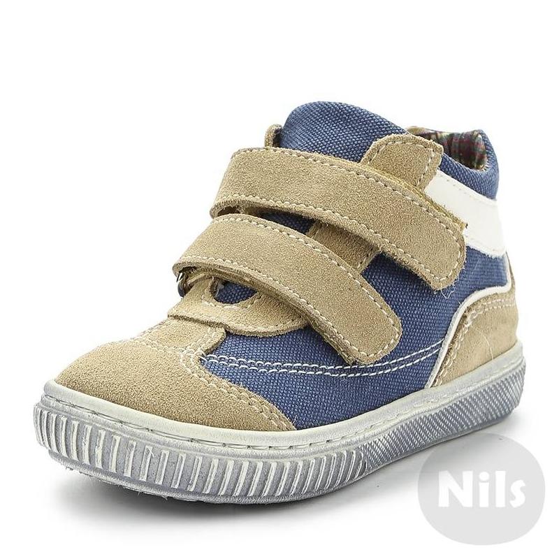 БотинкиЛегкие ботинки из текстиля и натуральной кожи марки ZEBRA (ЗЕБРА) для мальчиков. Верх из натуральной замши бежевого цвета и текстиля голубого цвета, текстильная подкладка в клеточку и стелька из натуральной кожи. Ботинки застугиваются на липучки.<br><br>Размер: 25<br>Цвет: Бежевый<br>Пол: Для мальчика<br>Артикул: 006081<br>Страна производитель: Румыния<br>Сезон: Весна/Лето<br>Материал верха: Текстиль / Нат. кожа<br>Материал подкладки: Текстиль<br>Материал стельки: Натуральная кожа<br>Материал подошвы: ТЭП (термопластик)<br>Бренд: Россия