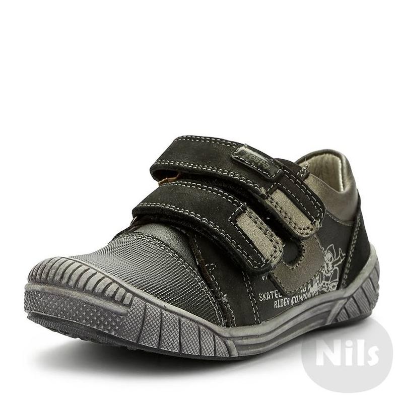 БотинкиБотинки из натуральной и искусственной кожи марки ZEBRA (Зебра) в спортивном стиле, подходят для повседневной носки. Дизайн сочетает черный и темно-серый цвета. Специальная анатомическая стелька обеспечивает поддержку стопы. Обувь хорошо сидит на ноге благодаря удобным регулируемым липучкам.<br><br>Размер: 23<br>Цвет: Темносерый<br>Пол: Для мальчика<br>Артикул: 006049<br>Страна производитель: Китай<br>Сезон: Весна/Лето<br>Материал верха: Нат. кожа / Иск. кожа<br>Материал подкладки: Натуральная кожа<br>Материал стельки: Натуральная кожа<br>Материал подошвы: ТЭП (термопластик)<br>Бренд: Россия