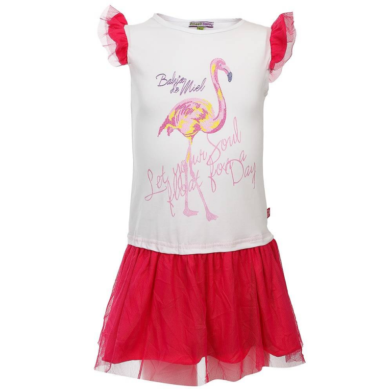ПлатьеПлатьебелогоцвета из коллекции Best Island марки Sweet Berry.<br>Милое платье с коротким рукавом, выполненное изхлопка с добавлением эластана, декорировано принтом с изображением фламинго. Модель дополнена контрастной нежной юбочкой и рукавами-крылышками.<br><br>Размер: 7 лет<br>Цвет: Белый<br>Рост: 122<br>Пол: Для девочки<br>Артикул: 688393<br>Бренд: Италия<br>Страна производитель: Китай<br>Сезон: Весна/Лето<br>Состав: 95% Хлопок, 5% Эластан
